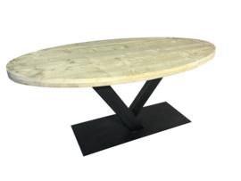Industriële tafel met steigerplanken ovaal blad en stalen V onderstel koker 120x60