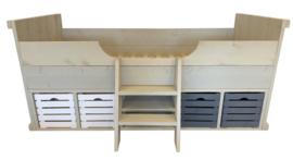 Bed steigerhout met trapje zand kleur (voorraad magazijn artikel)