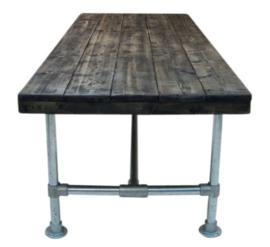 Tafel steigerhout blackwash en steigerbuis onderstel afm L300xB100cm (voorraad magazijn artikel)