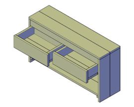 Doe-Het-Zelf bouwpakket badkamermeubel steigerhout met 2 lades 110cm lang