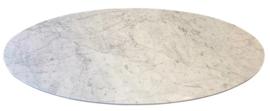 Ovaal marmer tafelblad Bianco Carrara wit 219x121cm