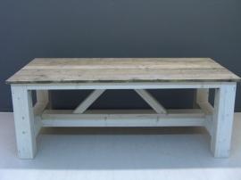 Kloostertafel steigerhout oud en wit onderstel met schuine schoren