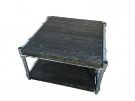 Salontafel zonder wielen van steigerbuis en nieuw steigerhout behandeld met blackwash