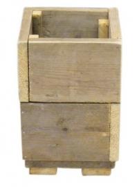 Bloembak / plantenbak oud steigerhout 30x30x45cm
