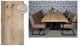 Eiken tafelblad Old style Recht met V groef