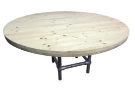Tafel nieuw steigerhout rond met steigerbuis onderstel afm: D130xH76cm (voorraad magazijn artikel)
