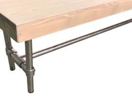 Bank steigerhout zitting greywash met een steigerbuis onderstel