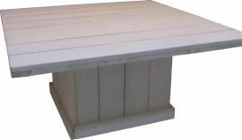 Tafel vierkant van steigerhout greywash behandeld afm: 100x100cm (voorraad magazijn artikel)