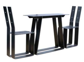 Stalen set tafel en bank met rug onderstel