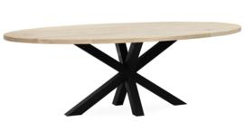Eiken ovale tafel 4cm dik blad en dubbel X onderstel 8x8 koker lang