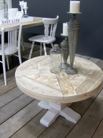 Salontafel kasteel- kloostertafel van steigerhout blad in mozaïek KT1S
