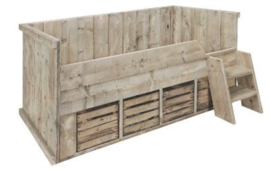 Bed steigerhout fruitkisten Nieuwhout steigerhout 90x200cm (voorraad magazijn artikel)