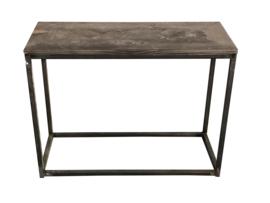 Sidetable stalen buisframe en nieuw steigerhouten blad blackwash afm: L150xB40xH76cm (voorraad magazijn artikel)