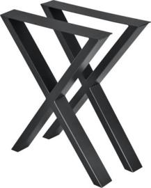 Stalen tafel onderstel model kruis X koker 8x4cm (STRIP)
