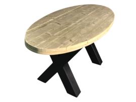 Industriële tafel stalen X onderstel met een oud steigerhouten ovaal blad afm: L200xB80xH78cm (voorraad magazijn artikel)