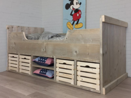Bed steigerhout Anne-Lotte fruitkisten wit