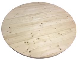 Tafel van nieuw steigerhout rond model met steigerbuis