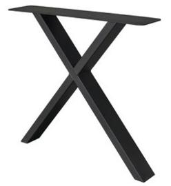 Stalen salontafel/bankje onderstel gepoedercoat X koker 8x4cm