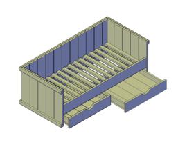 Doe-Het-Zelf bouwpakket bed steigerhout eenpersoons kajuitbed met 2 lades