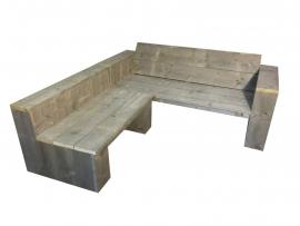 Lounge hoekbank van oud steigerhout  geschuurd (lhbrr)