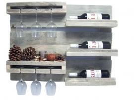 Doe-Het-Zelf bouwpakket wandbord wijnrek van oud of nieuw steigerhout L80xH60cm