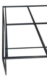 Stalen tafel onderstel buisframe koker 2x2cm met schuine schoren gepoedercoat L260xB97xH72cm  (voorraad magazijn artikel)
