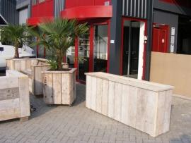 Planten / Bloembak 200x100x35cm van oud  steigerhout