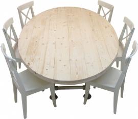 Ovale tafel met steigerbuis onderstel en steigerhouten blad nieuw