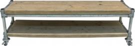 Tv meubel van oud steigerhout met steigerbuis onderstel