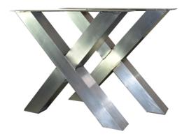 Aluminium tafel onderstel model kruis X koker 10x10cm (STRIP)