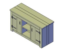 Doe-Het-Zelf bouwpakket badkamermeubel steigerhout met 2 deurtjes 140cm lang