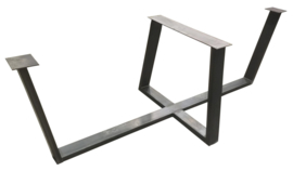 Stalen tafel onderstel model U dubbel 10x4cm met strip