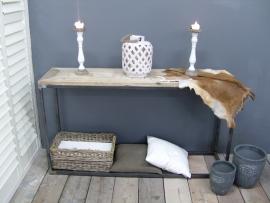 Sidetable oud steigerhout mozaïek met stalen buisframe 150x40x80cm