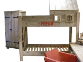 Hoogslaper boomhut van oud gebruikt Steigerhout (HSB)