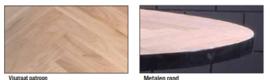 Eiken tafelblad Ovaal Dublin elips visgraat met een metalen rand