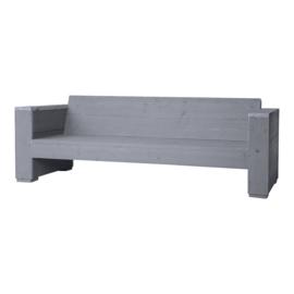 Loungbank steigerhout massief 3- zits kleur beton grijs