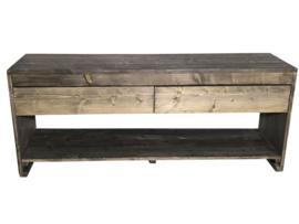 Badkamer meubel van steigerhout met 2 lades en schap (ZWART)