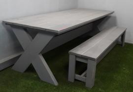 Eettafel Kruispoot & Kasteel bank betongrijs  (voorraad magazijn artikel)