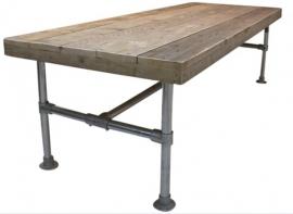 Doe-Het-Zelf bouwpakket tafel met steigerbuis van oud of nieuw steigerhout