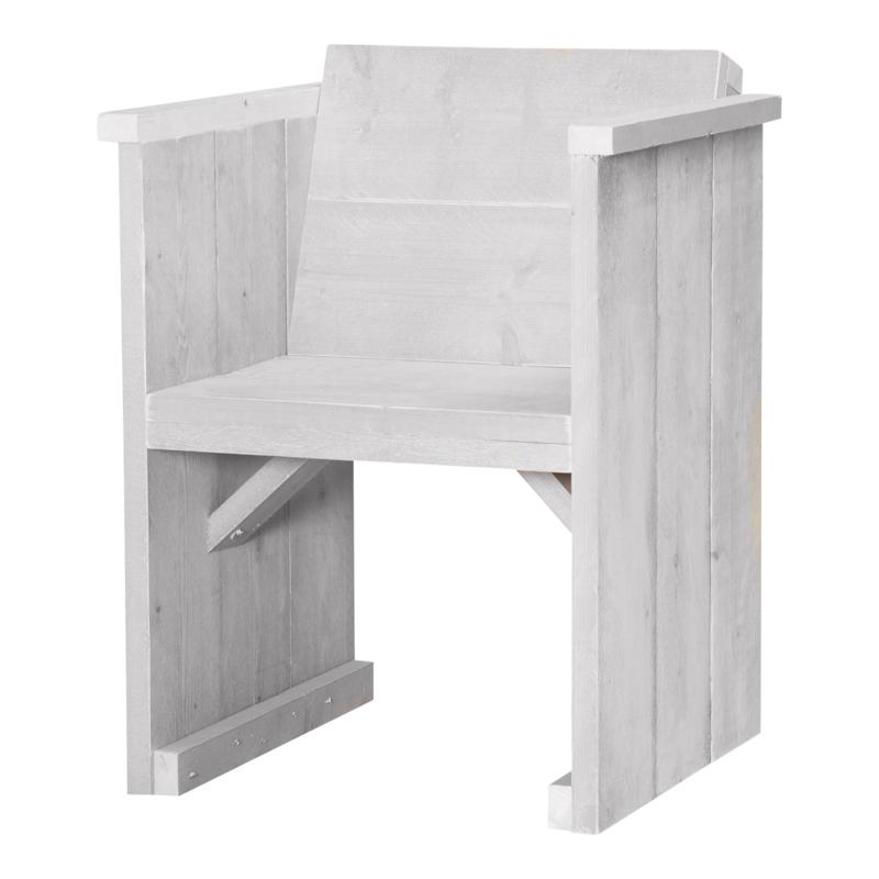 Diner stoel dicht steigerhout kleur schelp wit