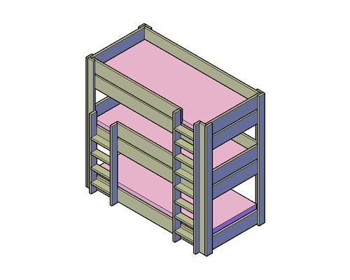 Doe-Het-Zelf bouwpakket bed steigerhout 3 persoon stapelbed