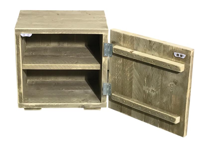Goede Nachtkastje met deurtje en 1 schap van oud steigerhout FB-15