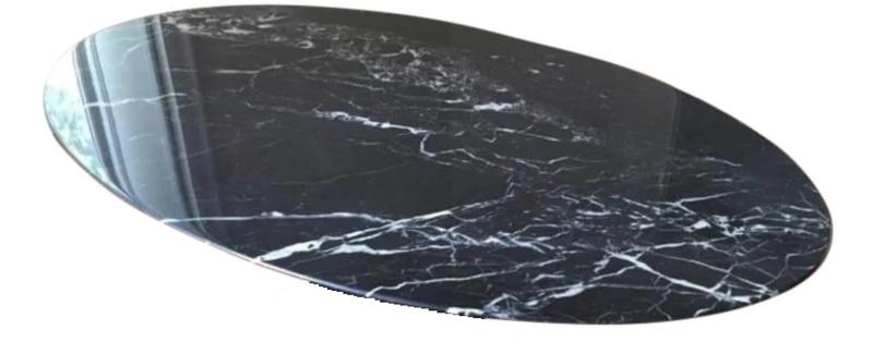 Tafelblad ovaal marmer Nero Marquina zwart afmeting 240x120cm