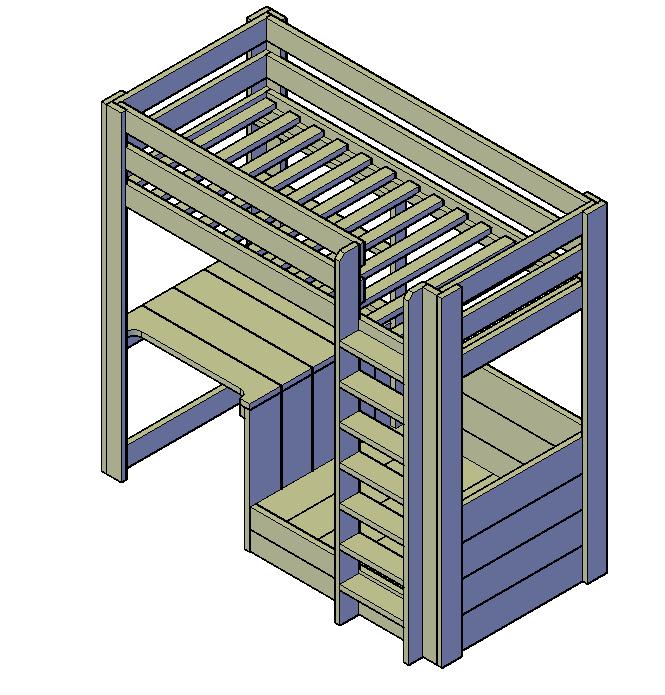 Doe-Het-Zelf bouwpakket  hoogslaper Samantha van steigerhout