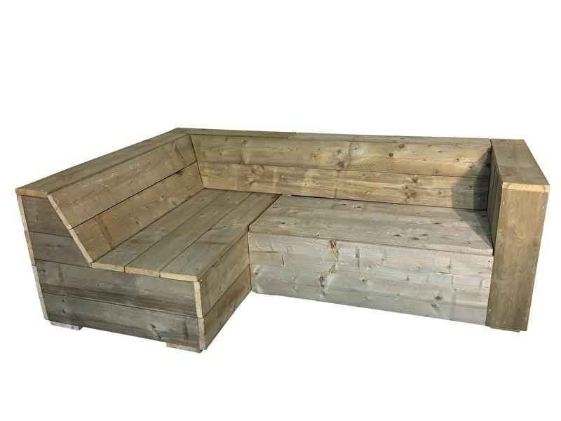 Lounge hoekbank steigerhout met 1 armleuning (lhb)