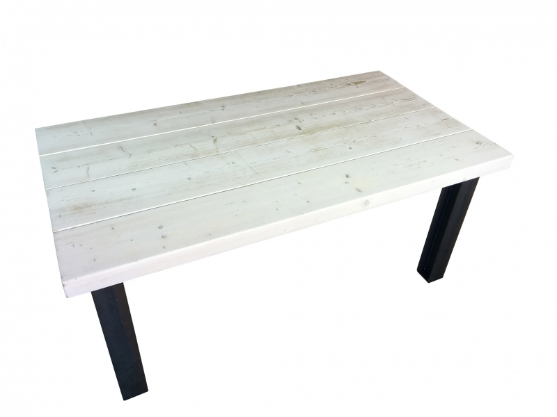 Bijzettafel White Wash.Tafel Van 24x7cm Balken White Wash Met Stalen H Balk