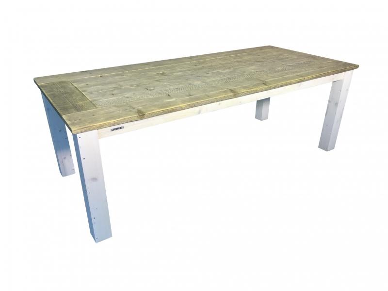 Tafelblad van oud steigerhout en wit onderstel (RVERSTEK)