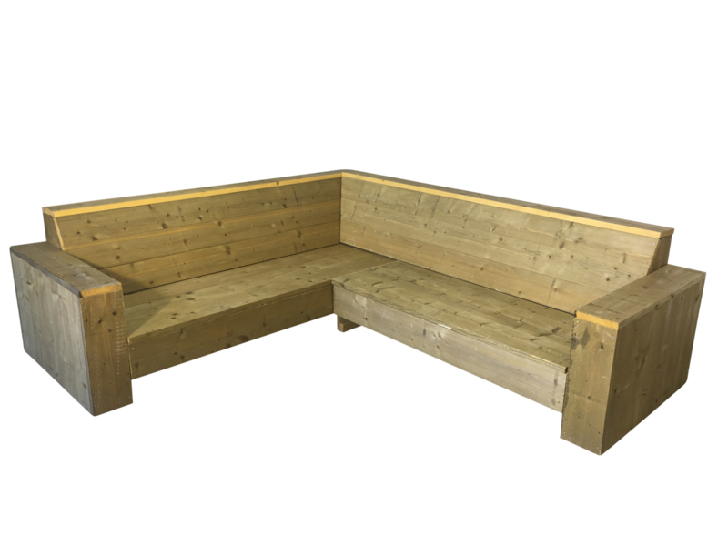 Hoekbank steigerhout zand L250xB250 (voorraad magazijn artikel)
