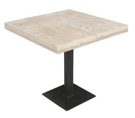 Horeca kantine tafel steigerhouten blad en stalen poot