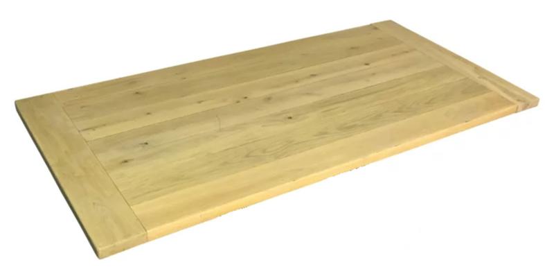 Eiken tafelblad 4cm dik met kopbalk 230x100cm (voorraad magazijn artikel)